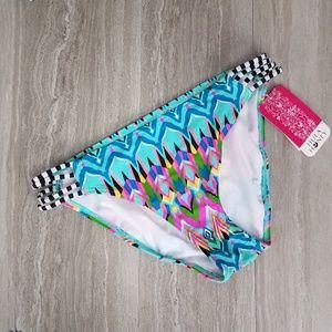 NWT Hula Honey M Hipster Swim Bikini bottom Straps